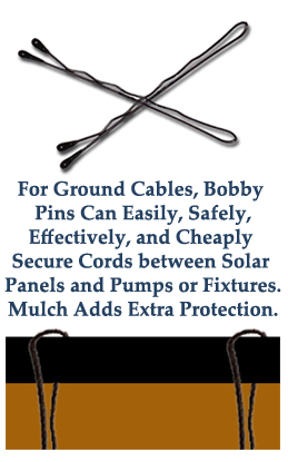 bobby pins of various sizes can secure cords into the ground