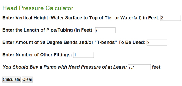 sample calculator - solar pump for waterfall