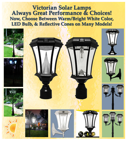 new victorian solar lamps and solar lamp posts with smaller reflective cone and new led bulb