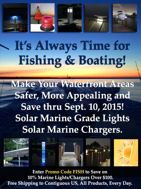 save 10 percent on betters solar watercraft lighting, solar marine chargers