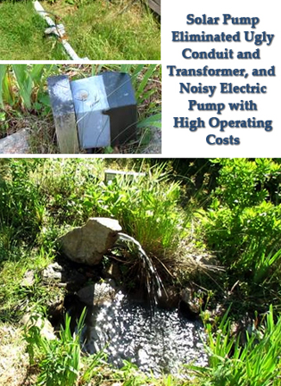 10 watt solar pump used to retrofit broken electric water feature