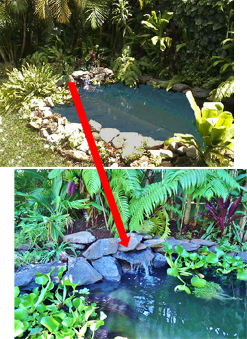 Hawaii Waterfall with 20 Watt Solar Pump with solar lights and battery