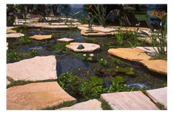 water garden with extensive stonework