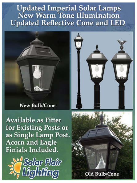 new imperials solar lamps with smaller reflective cone and new led bulb