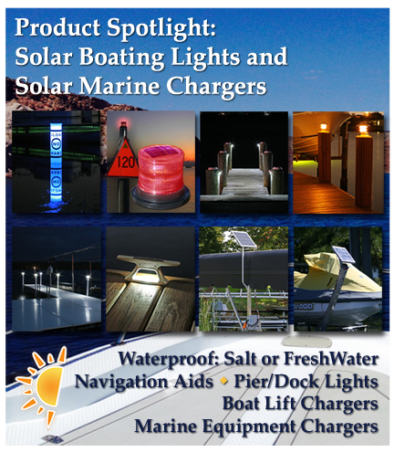 solar boating lights, solar buoys, solar marine chargers