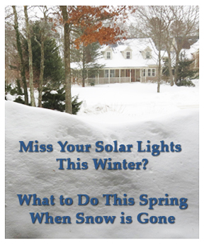 snow covered landscape, snow buried solar lights
